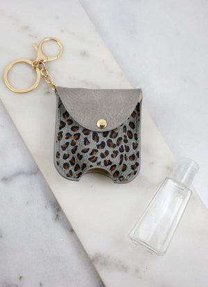 Bolling Animal Print Sanitizer Keychain Gray Leopard - Caroline Hill