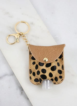 Bolling Animal Print Sanitizer Keychain Tan - Caroline Hill