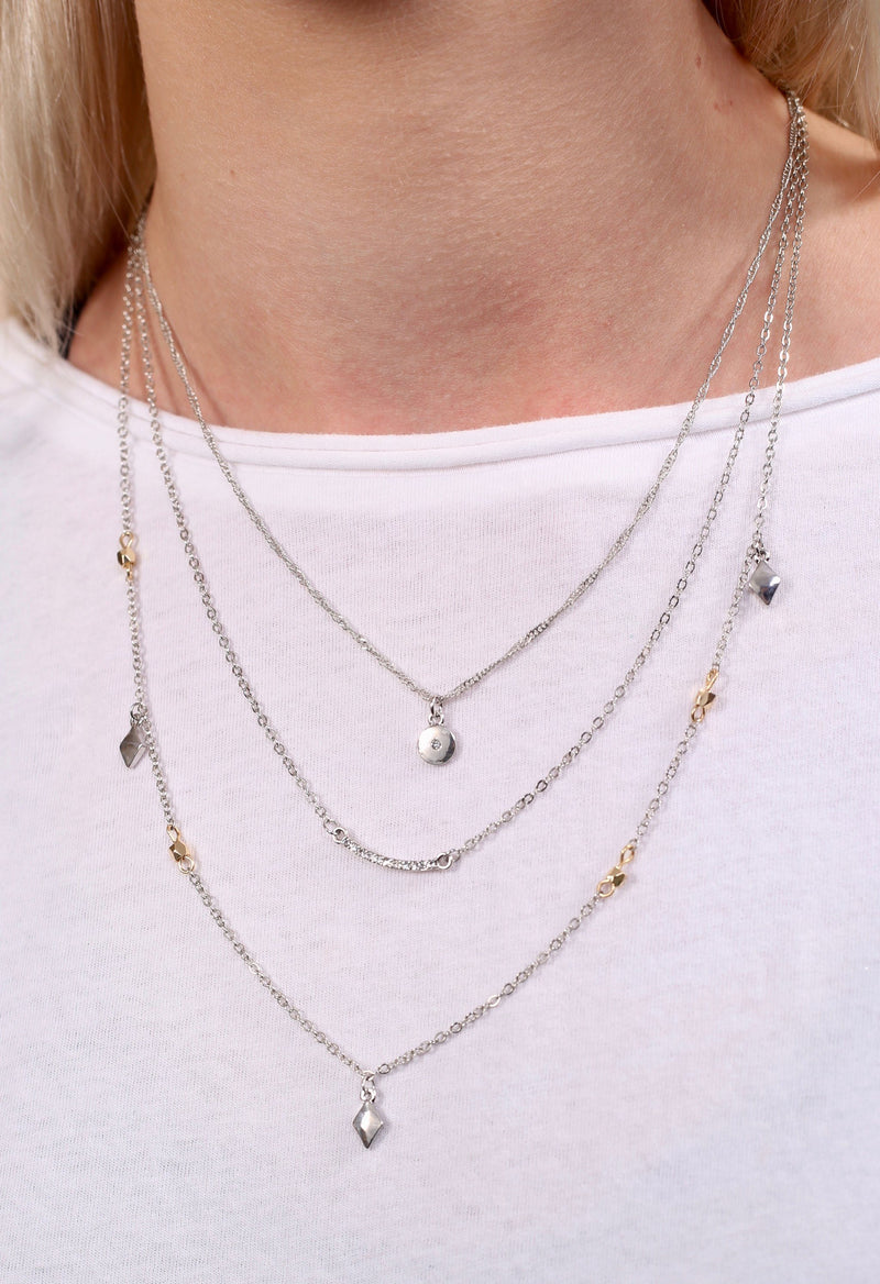 Boone Silver Layered Necklace - Caroline Hill