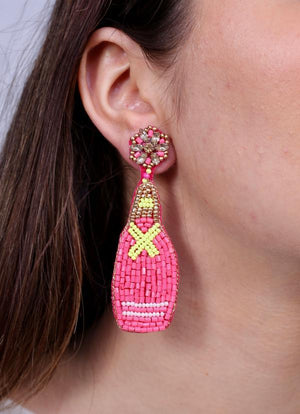 Bottom's Up Bottle Earring Pink - Caroline Hill
