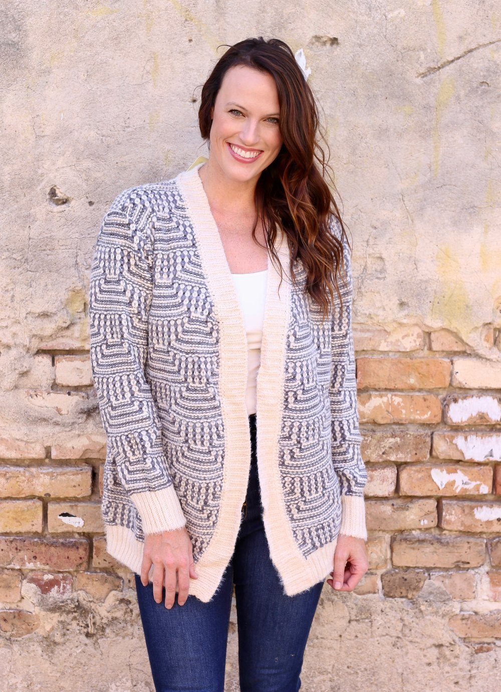 Brady Gray Knit Cardigan - Caroline Hill