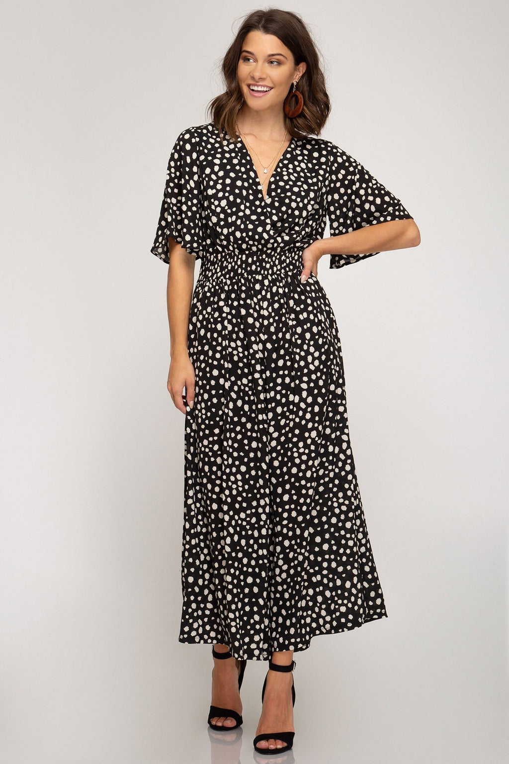 Brazil Black Spotted Wrap Jumpsuit - Caroline Hill