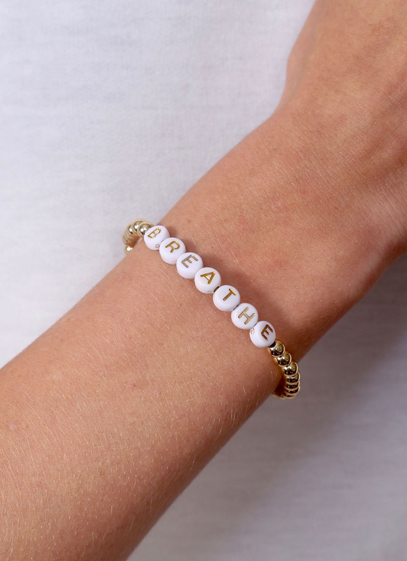 Breathe Bead Word Bracelet Gold - Caroline Hill