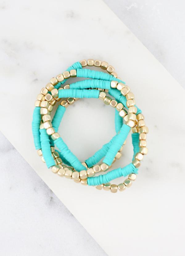 Bree Turquoise Disc Beaded Stretch Bracelet - Caroline Hill