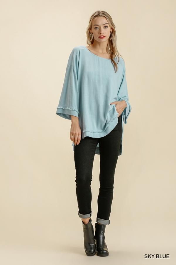 Breezy Blue Oversized Top - Caroline Hill