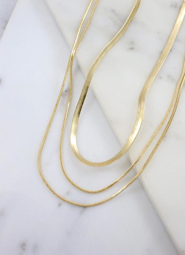 Brenda Herringbone Layered Necklace Gold - Caroline Hill