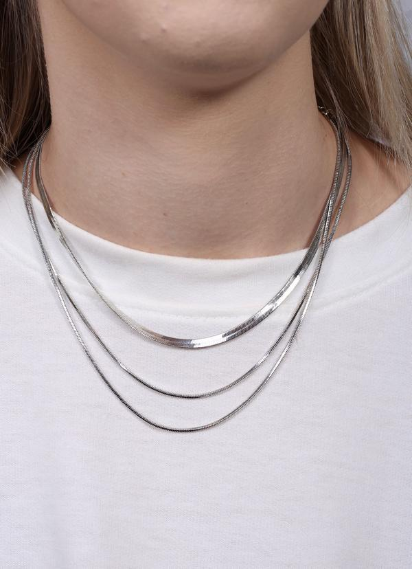 Brenda Herringbone Layered Necklace Silver - Caroline Hill
