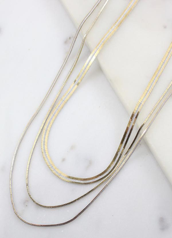 Brenda Herringbone Layered Necklace White Gold - Caroline Hill