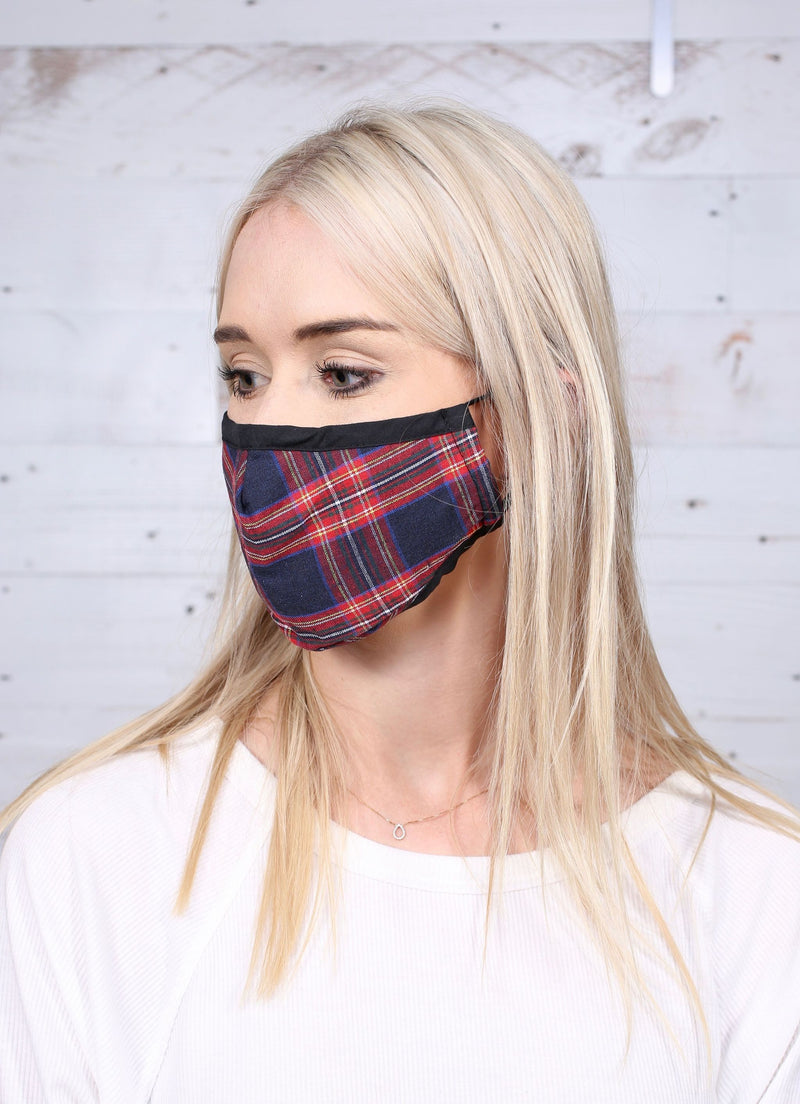 Brice Navy Plaid Mask with Adjustable Nose Wire - Caroline Hill