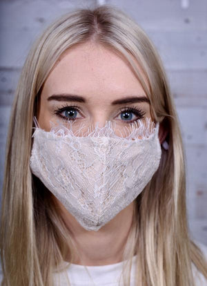 Bride To Be Lace Face Mask Taupe - Caroline Hill