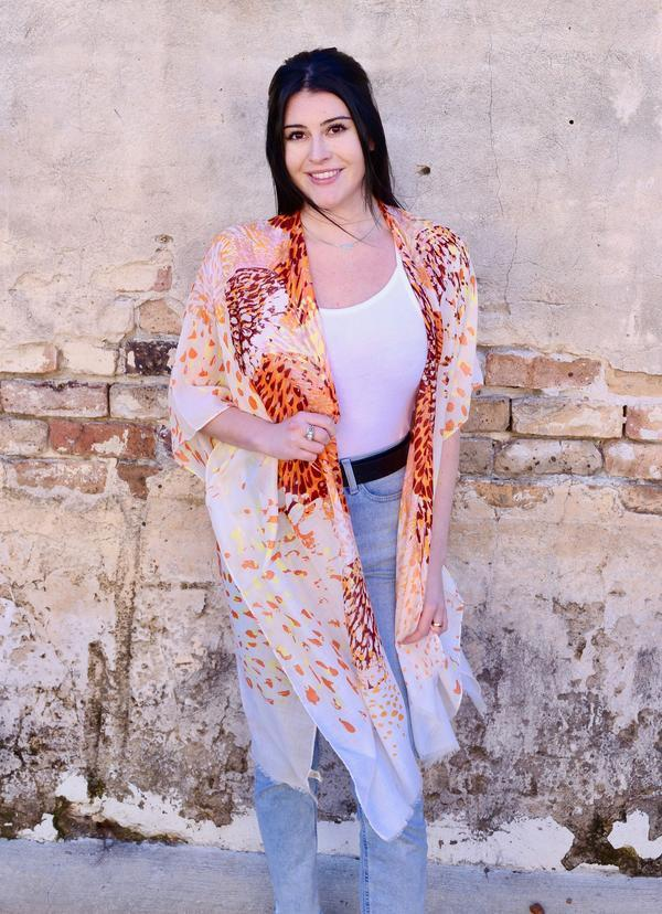 Brimsley Printed Kimono Orange - Caroline Hill