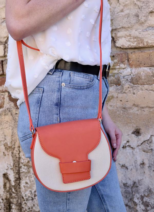 Brunch Crossbody With Canvas Accent Coral - Caroline Hill