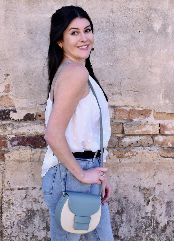 Brunch Crossbody With Canvas Accent Dusty Blue - Caroline Hill
