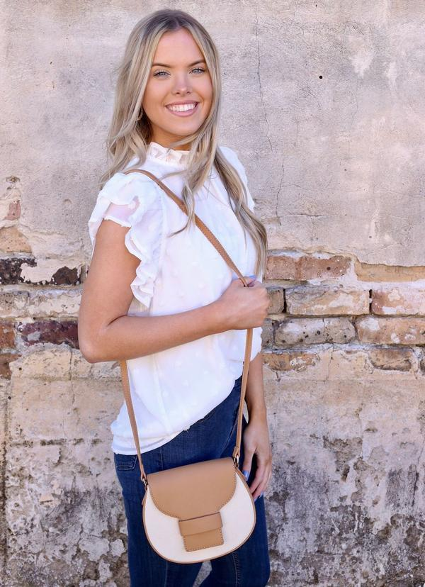 Brunch Crossbody With Canvas Accent Tan - Caroline Hill