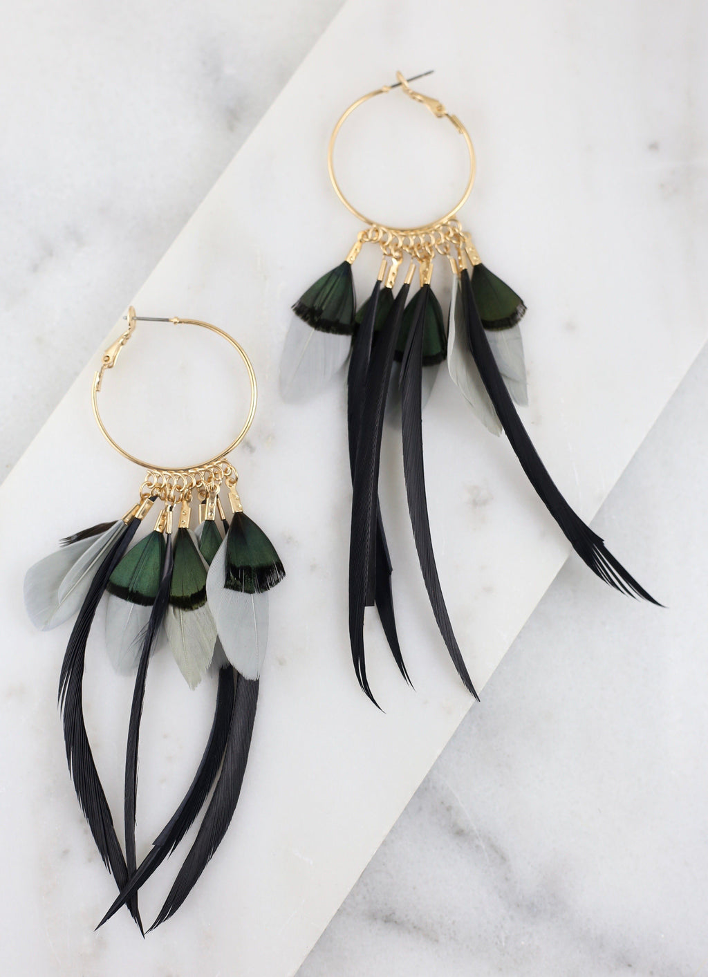 Buono Black Feather Earring - Caroline Hill