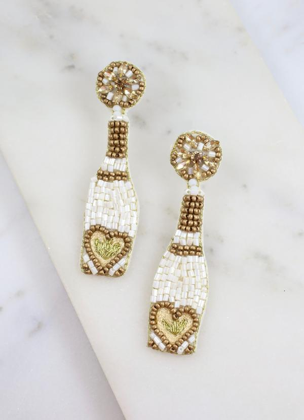 But First, Bubbly Champagne Earring White - Caroline Hill