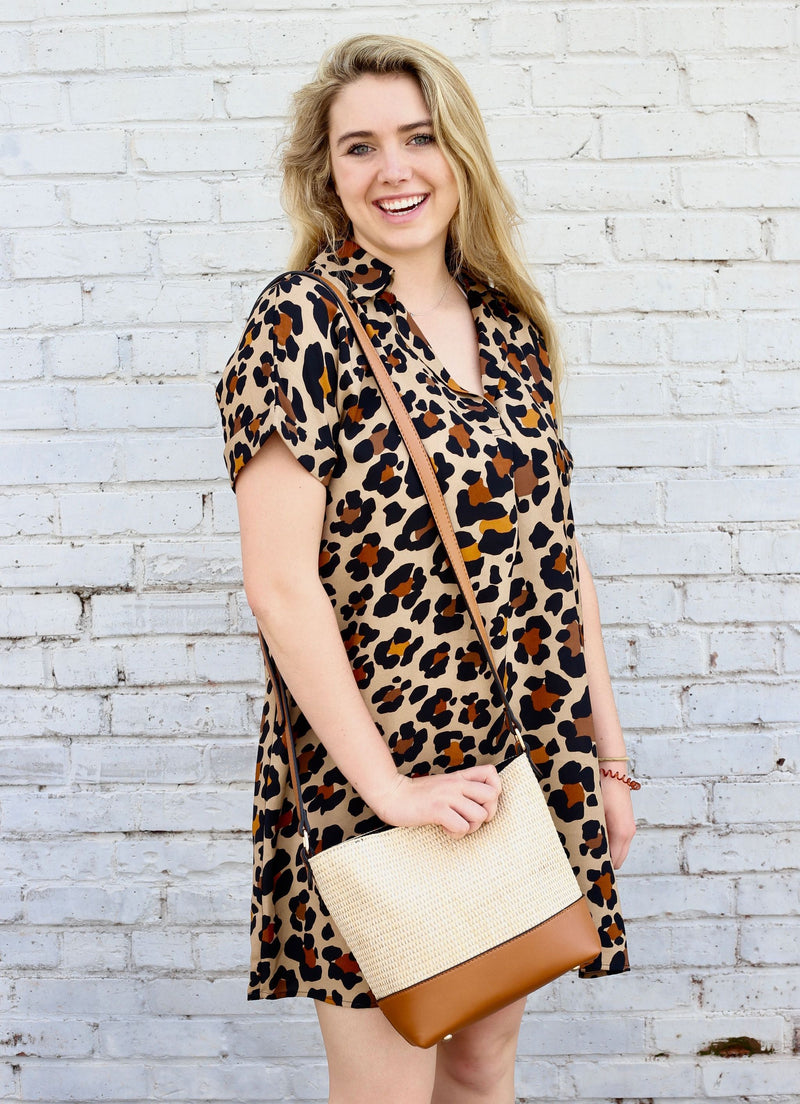 By the Beach Leopard Collared Dress - Caroline Hill