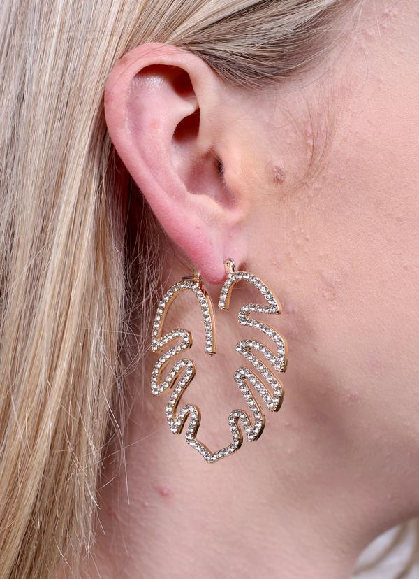 Caitlin Cz Palm Leaf Earring Gold - Caroline Hill