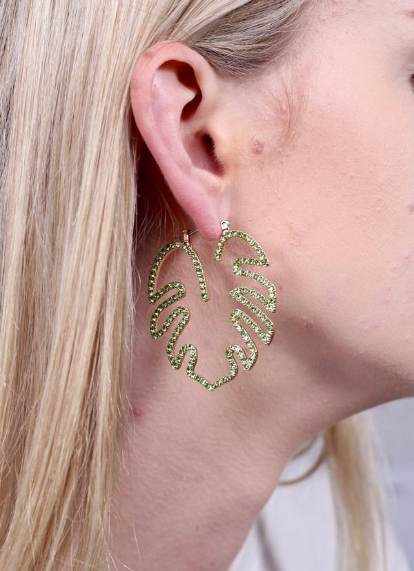 Caitlin Cz Palm Leaf Earring Green - Caroline Hill