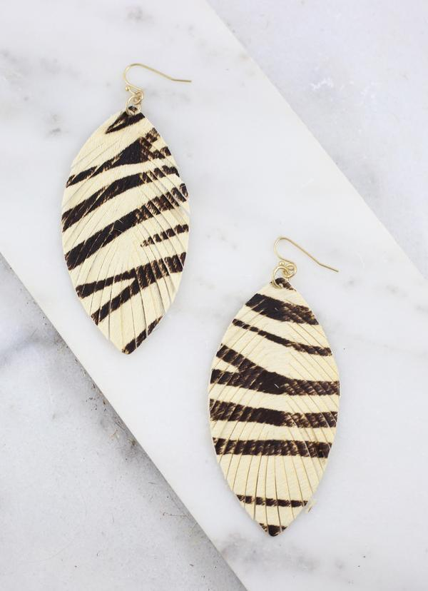 Calhoun Zebra Feather Earring - Caroline Hill