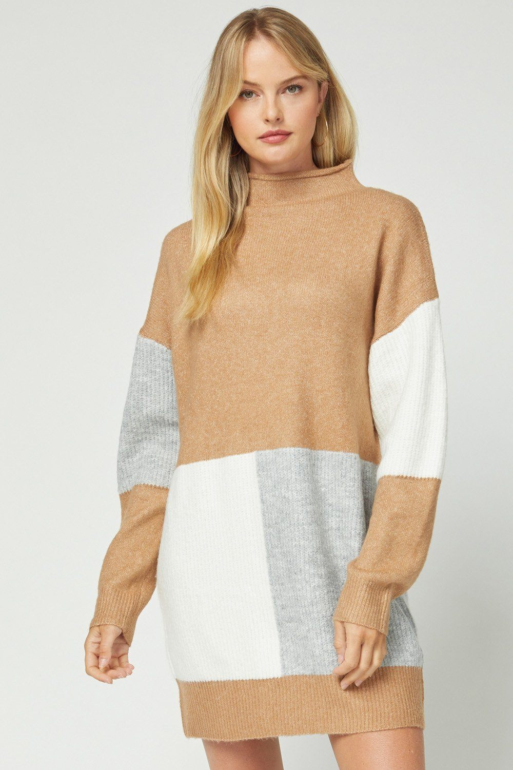 Camel Color Block Sweater Dress - Caroline Hill