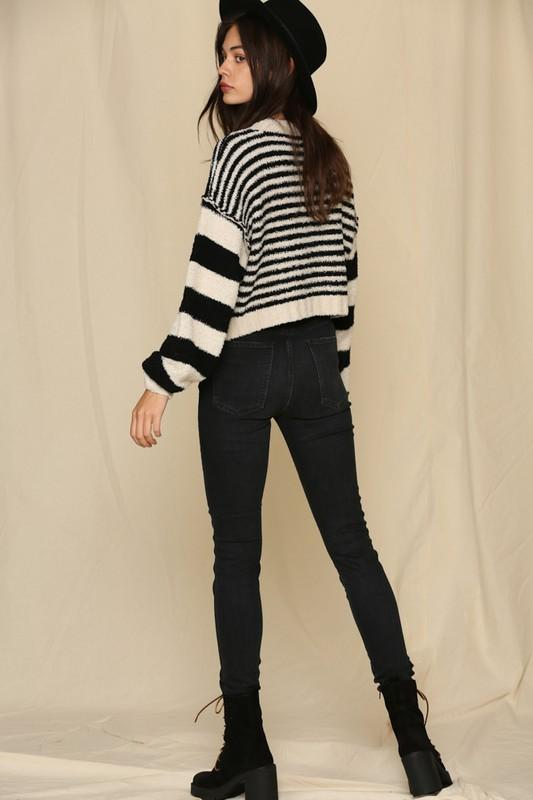 Can't Catch Me Black Stripe Sweater - Caroline Hill