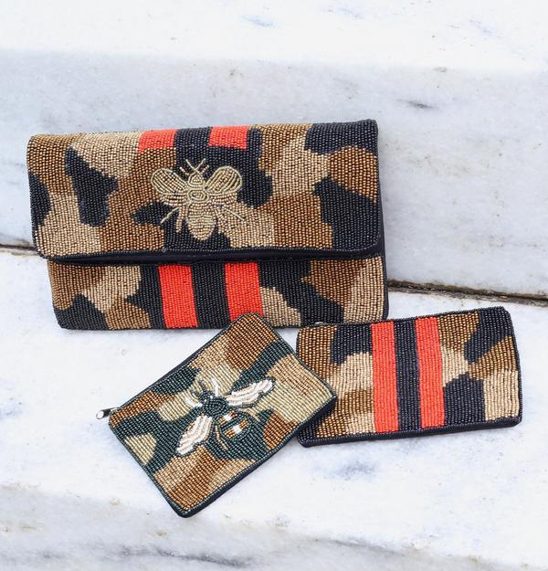 Canyon Beaded Camo Bee Coin Purse Olive - Caroline Hill