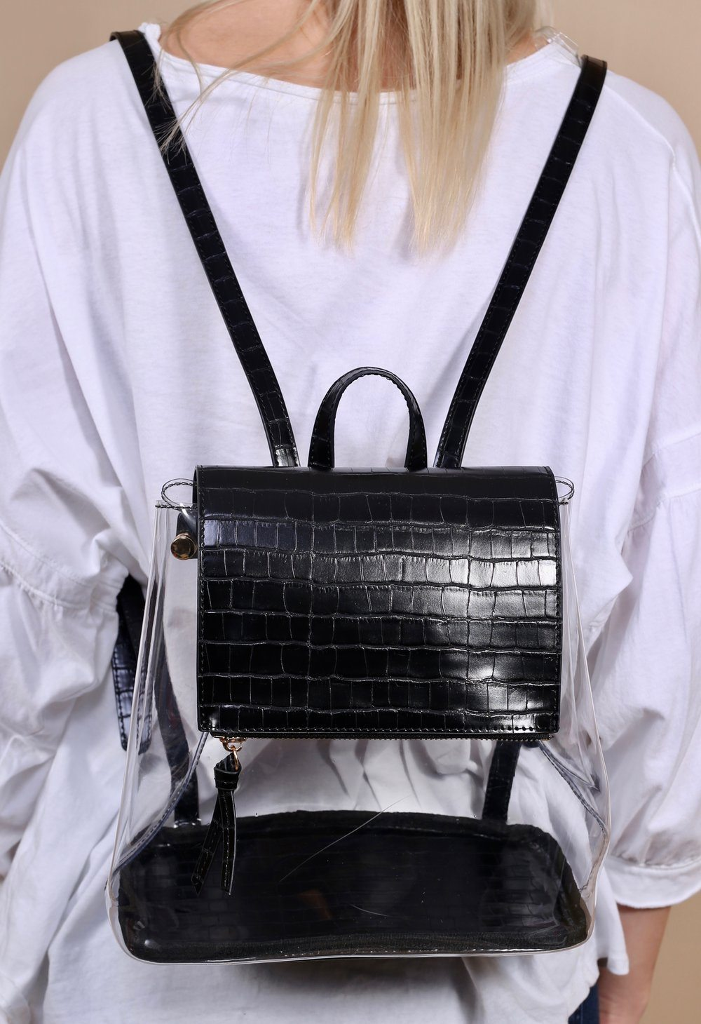Caramela Clear Backpack Black Croc - Caroline Hill