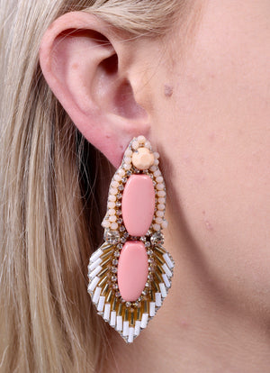 Carlson Blush Embellished Earrings - Caroline Hill