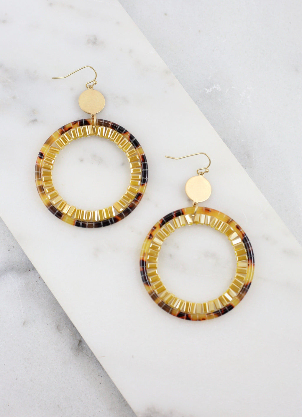 Carlton Round Natural Resin Earring - Caroline Hill