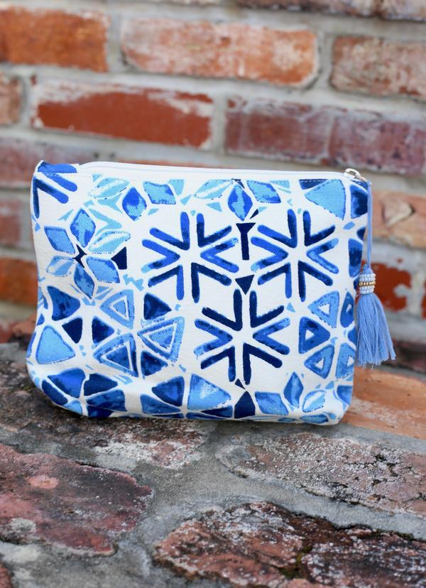 Carnival Cruise Blue Geo Cosmetic Bag - Caroline Hill