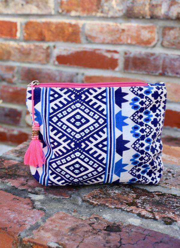 Carnival Cruise Navy India Cosmetic Bag - Caroline Hill
