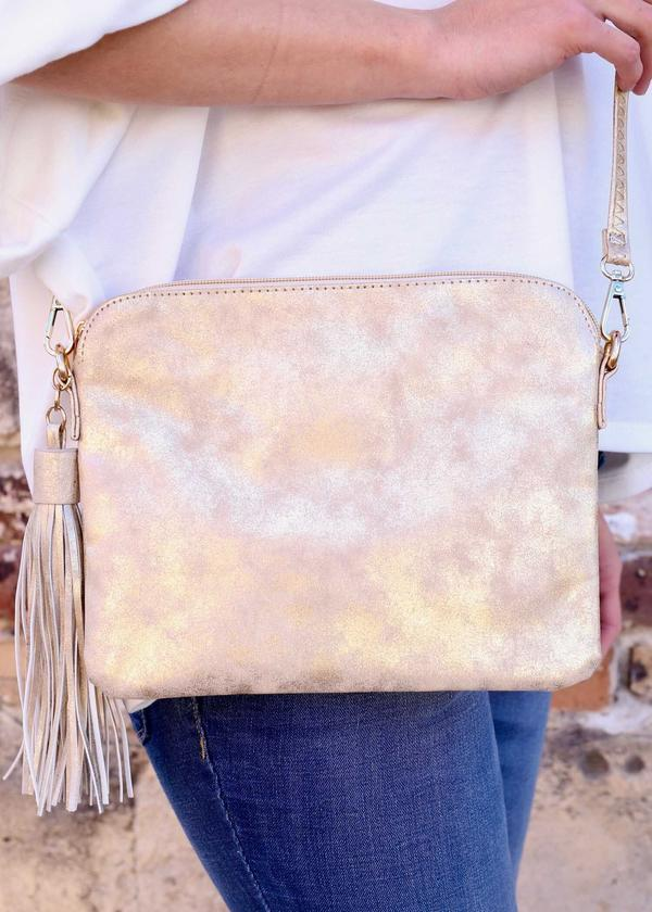 Carol Clutch-Crossbody Glimmer Gold - Caroline Hill