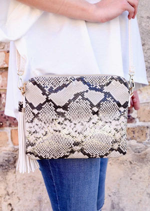 Carol Clutch-Crossbody Snake Gold Fleck - Caroline Hill