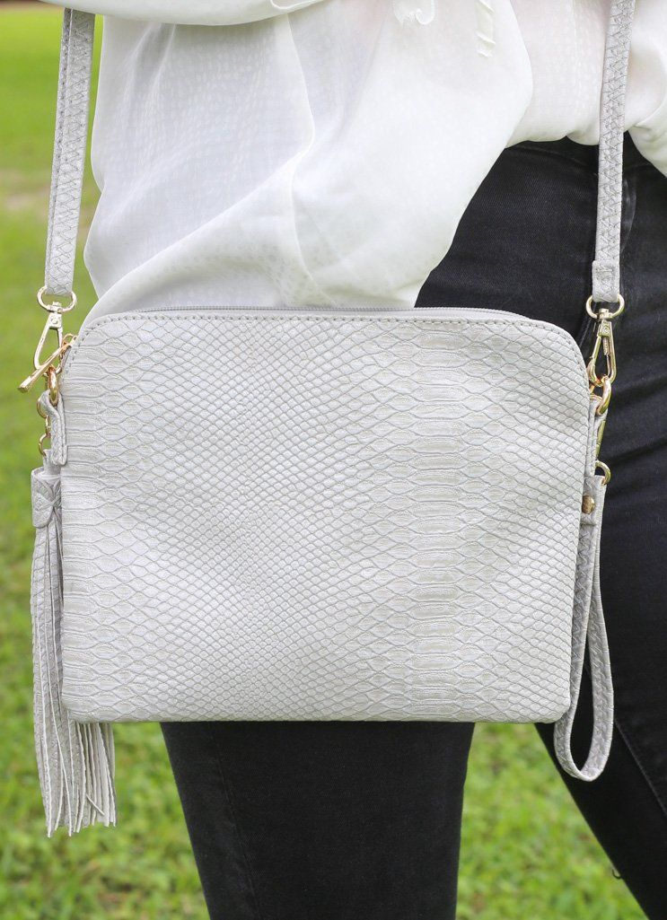 Carol Clutch Snake Pale Gray Crossbody - Caroline Hill