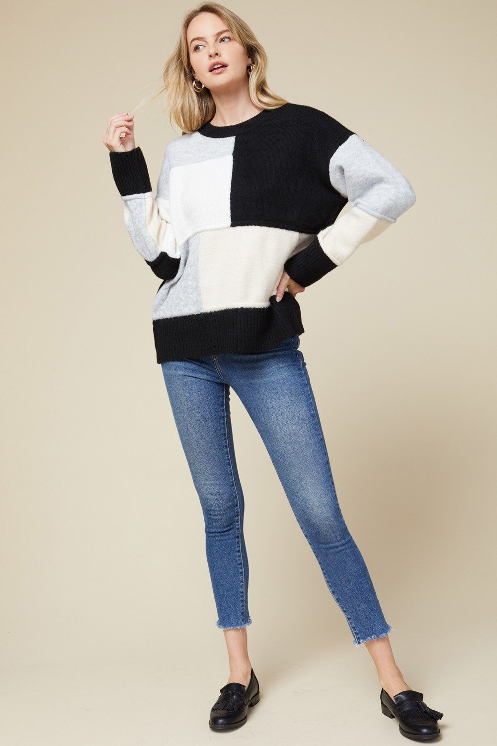 Carried Away Black Combo Color Block Sweater - Caroline Hill