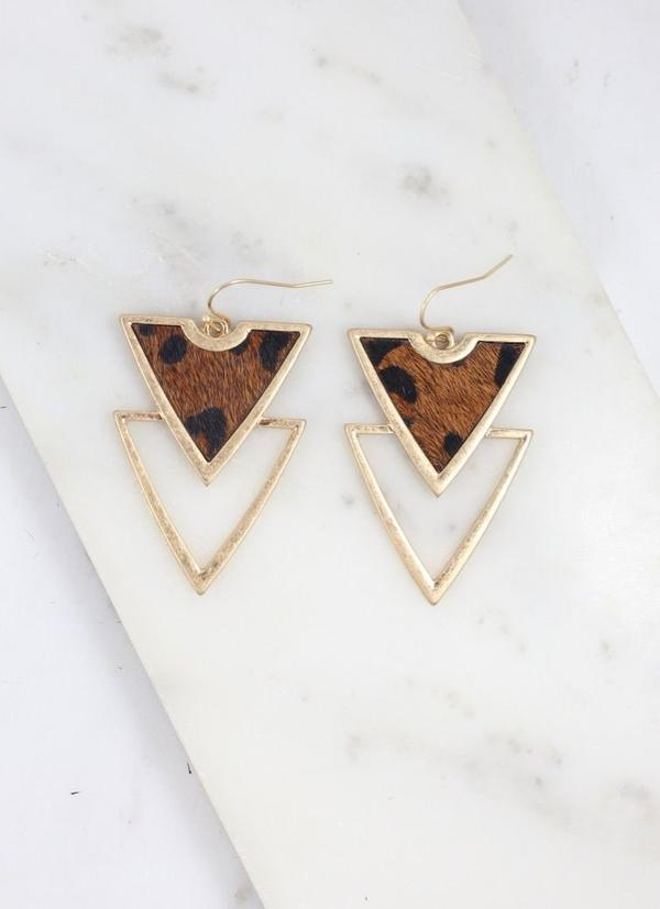 Carroll Triangle Animal Brown Earring - Caroline Hill