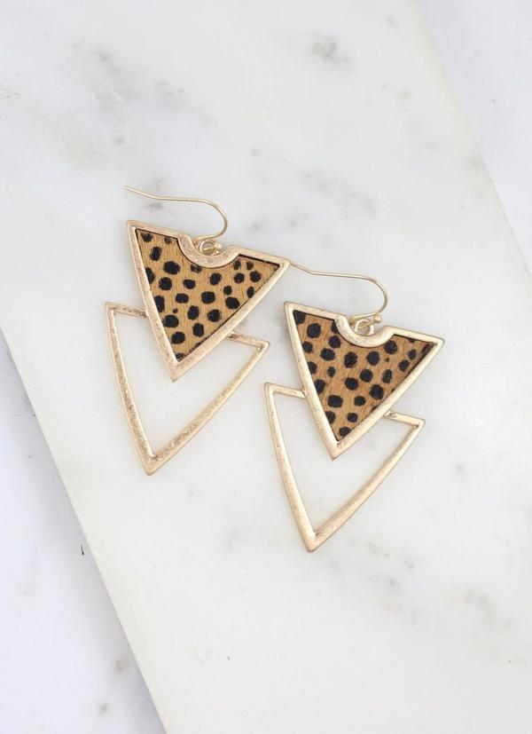 Carroll Triangle Animal Tan Earring - Caroline Hill