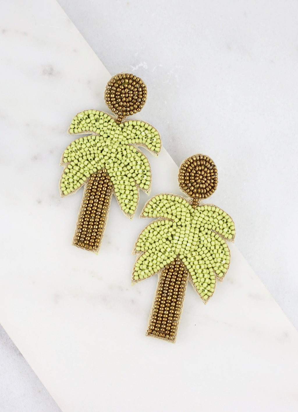 Carstic Green Beaded Palm Tree Earring - Caroline Hill