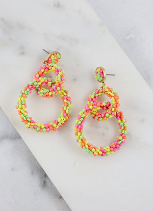 Casen Neon Multi Beaded Link Earring - Caroline Hill