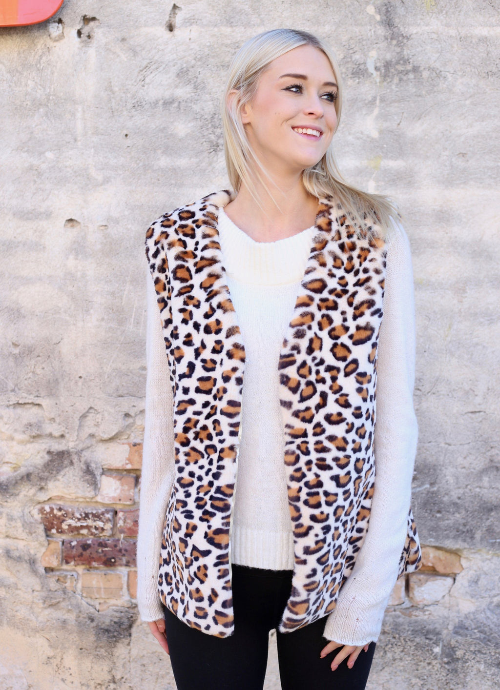 Cassie Brown Leopard Faux Fur Vest - Caroline Hill