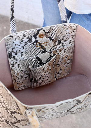 Cassie Snake Denim Shoulder Tote - Caroline Hill
