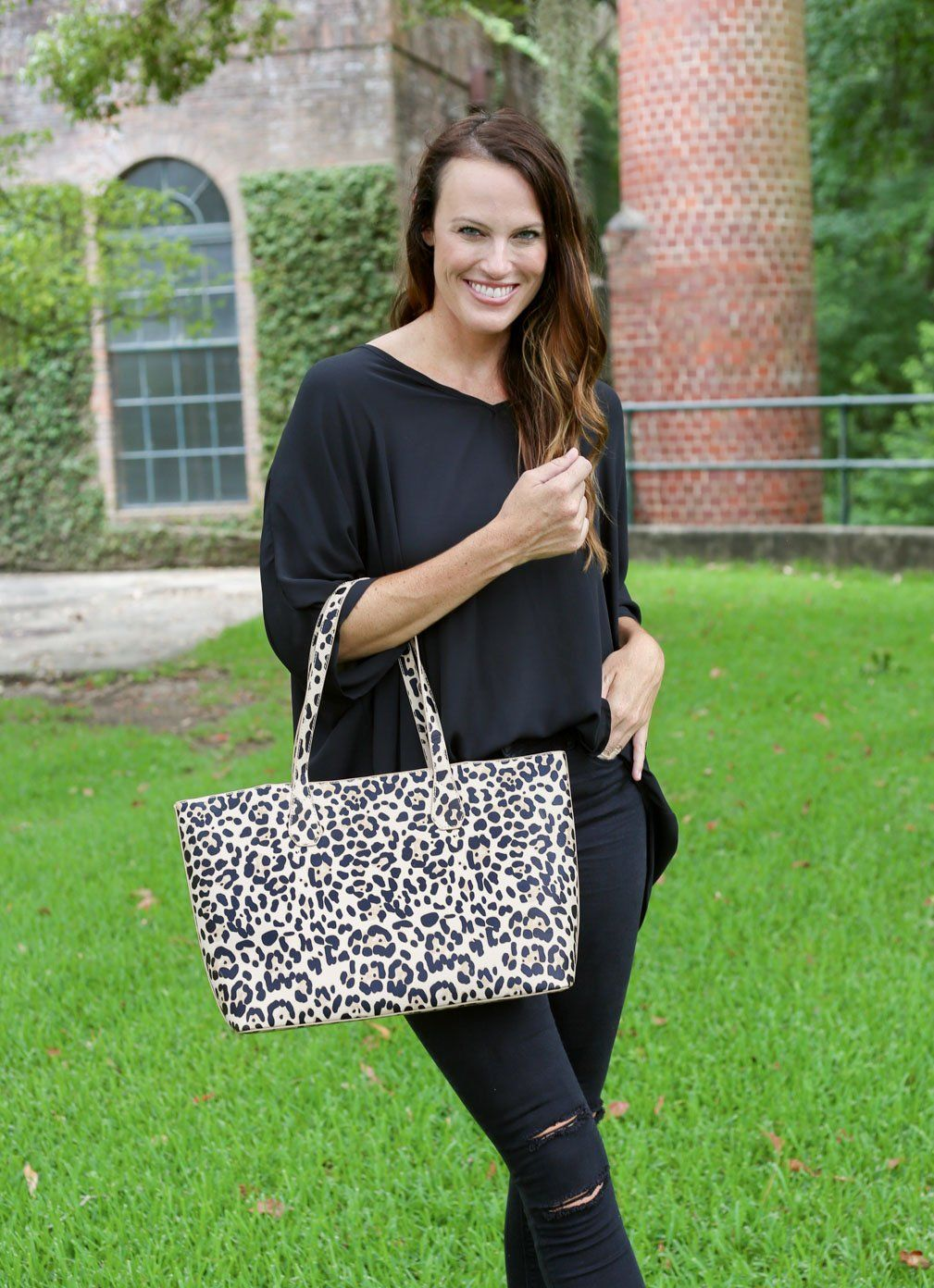 Cassie Tan Leopard Shoulder Tote - Caroline Hill