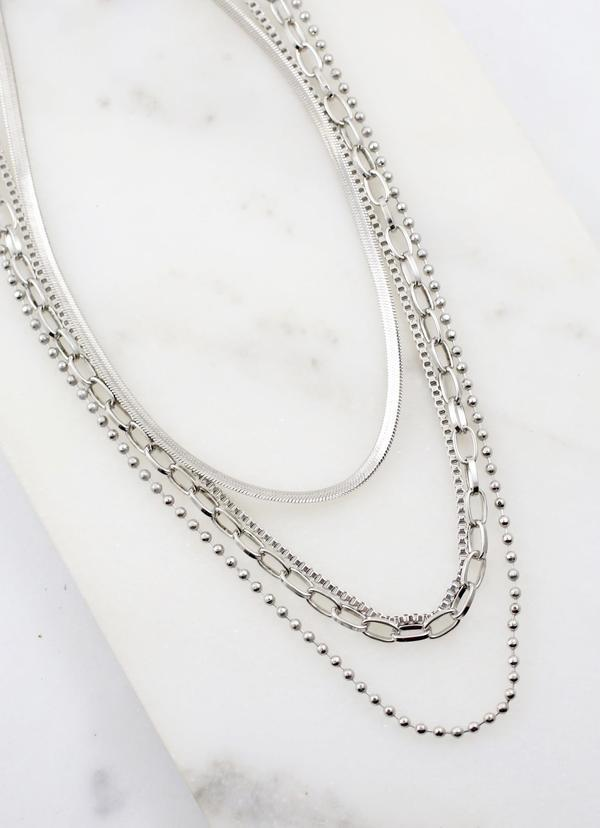 Castleton Necklace Set Silver - Caroline Hill