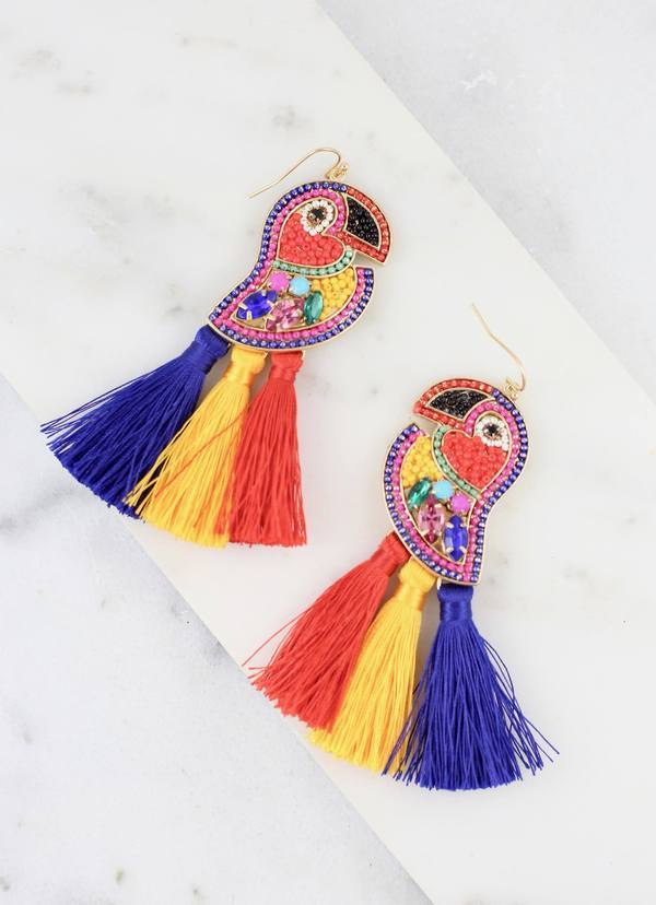 Caters Multi Embellished Toucan Earring - Caroline Hill