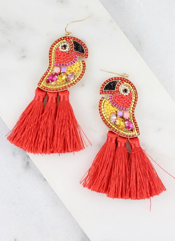 Caters Red Embellished Toucan Earring - Caroline Hill