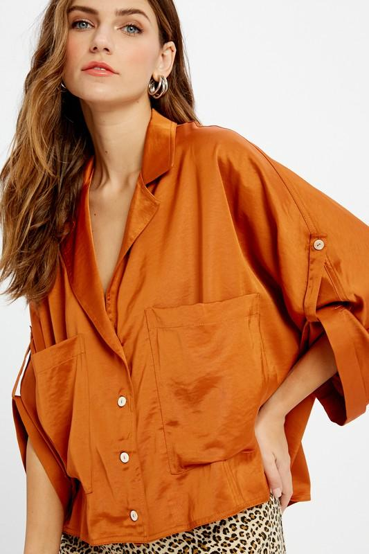 Catwalk Satin Cropped Shirt - Caroline Hill