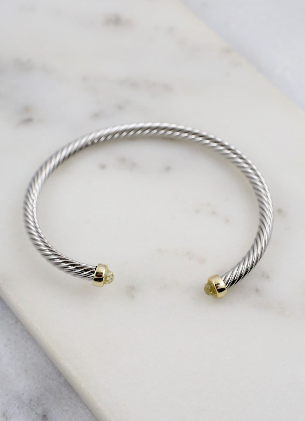 Cely Cable Bracelet With Stone Ends Silver - Caroline Hill