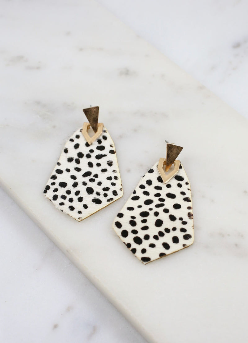 Champ Animal Print Post Earring Black White - Caroline Hill