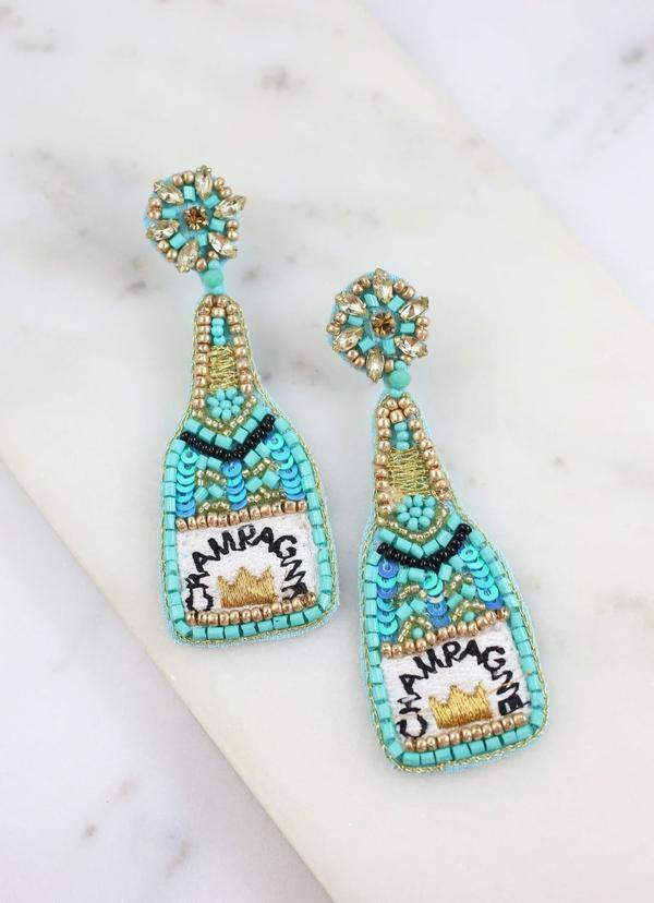 Champagne Bottle Embellished Earring Aqua - Caroline Hill
